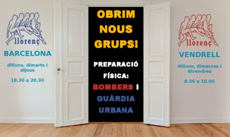Curs Bombers i Guàrdia Urbana de Barcelona -nous horaris curs 2018-